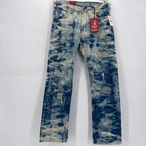 NWD Jordan Craig Metro Blue Acid Wash Straight Fit Denim Jeans Mens 36/32